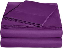 AmazonBasics Microfiber Sheet Set - Twin, Plum