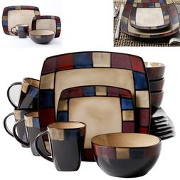 Modern Square Dinnerware Set 16 Piece Dinner Plates Bowls Ki