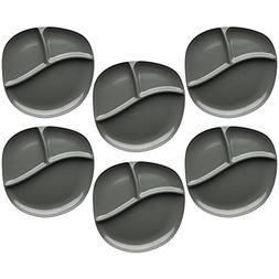 Zak Designs Moso 9-inch Divided Plate, Gray, 6 piece set