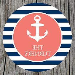 Nautical Anchor Striped Personalized Melamine Plate