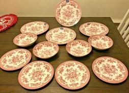 NEW 12 Pc SET ROYAL STAFFORD ASIATIC PHEASANT Pink Red Dinne