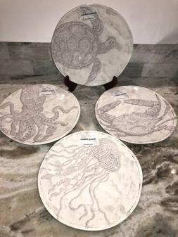 "New Tommy Bahama Melamine 11"" Dinner Plates Sea Life Ocean S"
