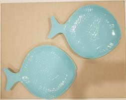 NEW Sigrid Olsen Melamine Fish Shaped Light Blue Dinner Plat