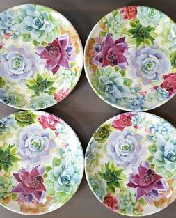 NEW Rachel Ashwell 4pc Set Bouquet of Flowers Melamine Dinne