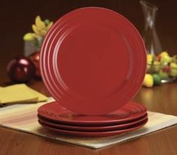 "New Set of 4 Rachael Ray Double Ridge Red Cobalt 11"" DINNER"