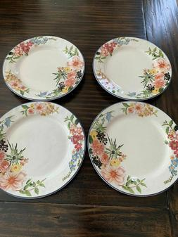New Set Of 4 Pottery Barn Flora Floral RIM BUNNY Dinner Plat