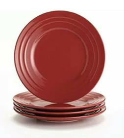 NEW Rachael Ray Set of 4 Red Dinner Plates - Double Ridge -