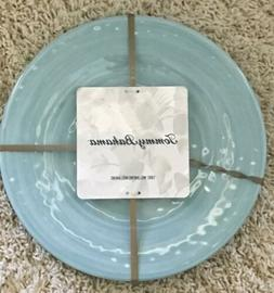 New Tommy Bahama Swirl Melamine Dinner Plates Set of 4 Aqua