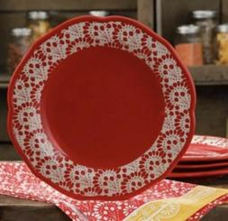 New Pioneer Woman Betsy Red Dinner Plates Kitchen Dining Coo