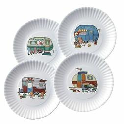 Nostalgic Camper Melamine Dinner Plates with Scalloped Edges