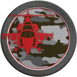 "Operation Camo Dinner Plate 8.75"" round  Camouflage Party Su"