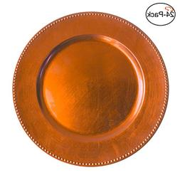 Tiger Chef 13-inch Orange Round Beaded Charger Plates, Set o