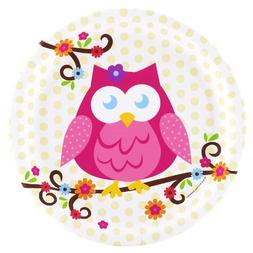 Owl Blossom Party Supplies - Dinner Plates
