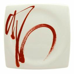 "Paint it Red Square Dinner Plate 10.5"" Set of  Contemporary"