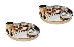 Pair of 2 Indian Dinnerware Stainless Steel Copper Tradition