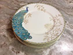 222 Fifth Peacock Garden Dinner Plates. Beautiful. Set Of 4.