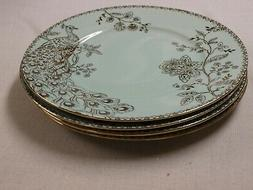 222 FIFTH PEACOCK GARDEN TURQUOISE lot 4 dinner plates 10 3/