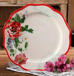 "Pioneer Woman Stoneware Country Garden 10-1/2"" Floral Red Di"