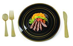 Plastic China Plate Silverware Combo Serving for 24  BLACK /