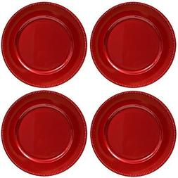 Plate Chargers Set of 4 Red Beaded Rim Round Holiday Table D