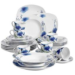 VEWEET 30-Piece Porcelain Dinnerware Set Royal Purple Flower