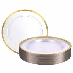 "Premium Heavy weight 10.25"" Clear Round Dinner Plastic Plate"