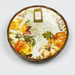 "Pumpkin Harvest Autumn Fall 11"" Melamine Dinner Plates Set o"