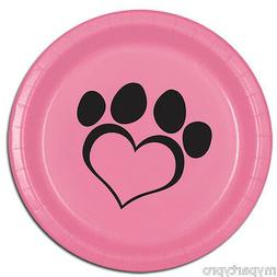 PUPPY PAWS Dog Love Pink Dinner Plate Birthday Party Supplie