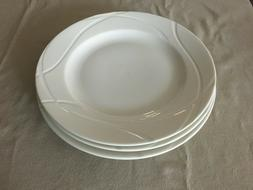 Qty 4 New Lenox VIBE Dinner Plate 11 Inch White Incised Swir