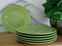 Rachel Ray Rachael Double Ridge Lime Green 6 Dinner Plates H