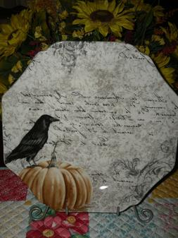 RAVEN HALLOWEEN DINNER PLATES BY 222 FIFTH *SET/2*SPOOKY POR