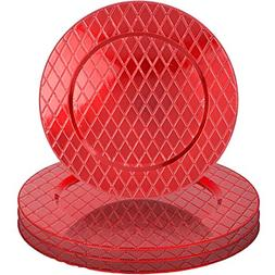 "Red Diamond Pattern 13"" Round Plastic Charger Dinner Plates"