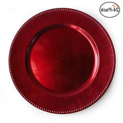 Tiger Chef 13-inch Red Round Beaded Charger Plates, Set of 2