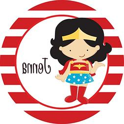 Red Striped Superwoman Personalized Melamine Plate