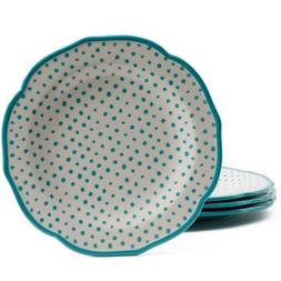 "The Pioneer Woman Retro Dot Blue Teal 10.5"" Dinner Plate Set"