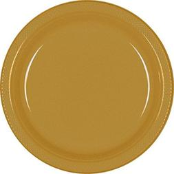 Amscan Reusable Party Round Dinner Plates , Gold, 10.3 x 10.