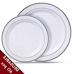 Reusable Plastic Dinner Plates Dishes Set Heavy Duty Hard Di