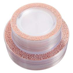 WDF 150PCS Rose Gold Plastic Plates with Disposable Plastic