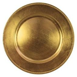 Round Charger Beaded Dinner Plates, Gold 13 inch, Set of 1,2