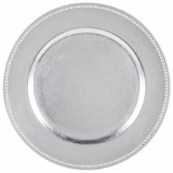 Round Charger Beaded Dinner Plates, Silver 13 inch, Set of 1