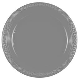 "JAM Paper Round Plastic Party Plates - Large - 10.25"" - Silv"
