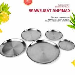 Round Plates Dish Dinner Plate Stainless Steel Outdoor Campi