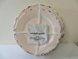 TOMMY BAHAMA RUSTIC CRACKLE CREAM MELAMINE PLATES SET OF 8 -