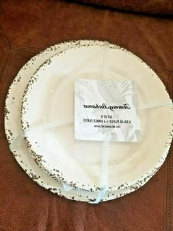 TOMMY BAHAMA RUSTIC CRACKLE MELAMINE 4 DINNER & 4 SALAD PLAT