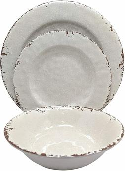 Gianna's Home 12 Piece Rustic Farmhouse Melamine Dinnerware