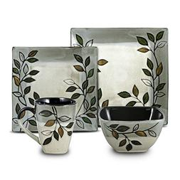 Pfaltzgraff Rustic Leaves Square Dinnerware Set