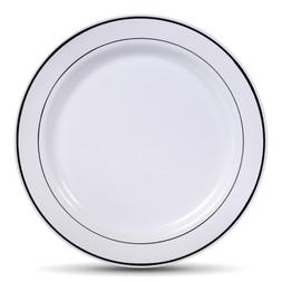 Select Settings  10.25 Inch Silver Rim Plastic Dinner Plates
