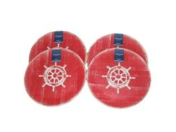 "Set 4 NAUTICA 11"" Outdoor Melamine Nautical Sailboat Wheel R"