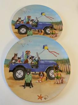 Set Of 2 Melamine Dinner Plates Blue Jeep With Dogs And Cats