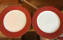 Set Of 2 Mikasa Parchment Red Dinner Plates